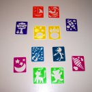 12 Mini STENCILS kids crafts toys prizes