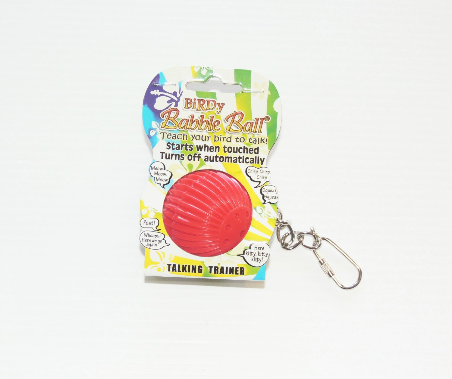 BABBLE BALL bird toy talking trainer parrots w/chain