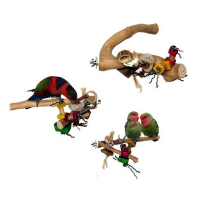 JAVA WOOD PERCH W/TOYS Large bird parts cage parrots