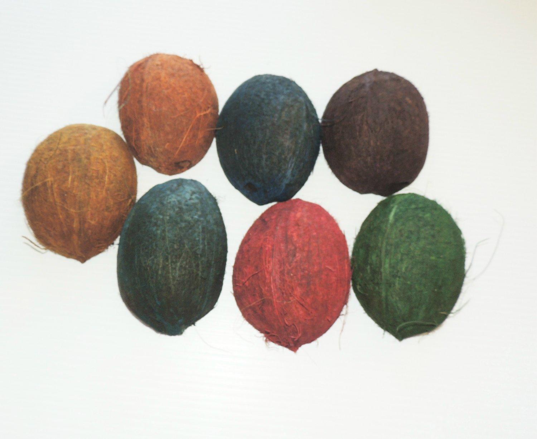 3 Colored Fury 1/2 Coconuts bird toy parts parrots cage