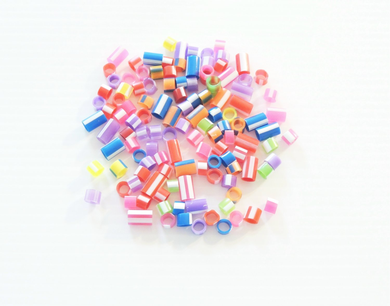 100 STRIPED Tube Beads bird toy parts parrots crafts