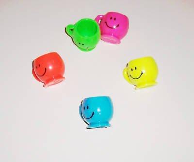 6 mini SMILEY FACE MUGS bird toy parts parrots kids