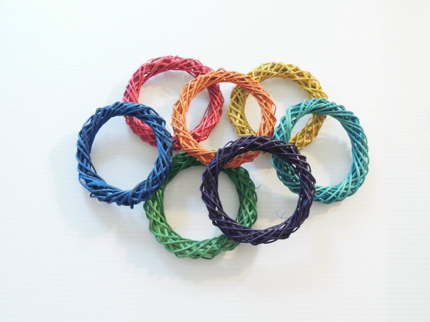 """4.75"""" Colored Twine Rings bird toy parts parrot crafts"""