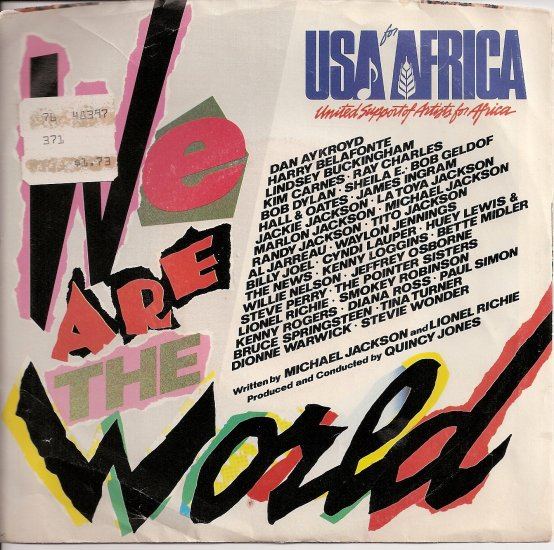 """USA for Africa: """"We Are the World"""" Original 45 RPM Record"""