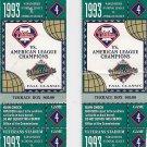 1993 MLB Baseball World Series Game 4 Tickets (2) October 20, 1993 at Veterans Stadium FREE SHIPPING