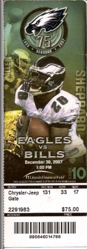 Philadelphia Eagles vs Buffalo Bills Ticket Stub December 30, 2007