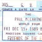 Paul McCartney World Tour Ticket Stub Friday December 15, 1989 Madison Square Garden Concert