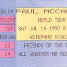 Paul McCartney World Tour Full Unused Ticket July 14, 1990 Veterans Stadium Philadelphia Concert