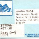 JONATHA BROOKE Saturday February 16, 2002 The Keswick Theater Theatre TICKET STUB