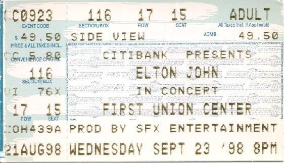 ELTON JOHN Ticket Stub September 23, 1998 First Union Center Philadelphia, PA  Concert