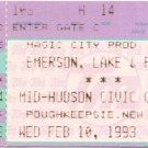 EMERSON, LAKE & PALMER Ticket Stub February 10, 1993 Mid-Hudson Civic Center Poughkeepsie, NY