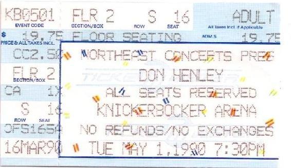 DON HENLEY Ticket Stub May 1, 1990 Knickerbocker Arena Albany, NY Concert