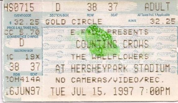 COUNTING CROWS - THE WALLFLOWERS Ticket Stub July 15,1997 Hershey Park Stadium