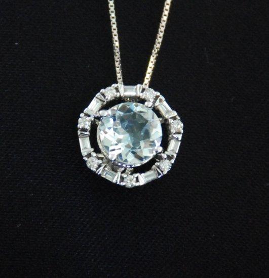 Round Aquamarine Diamond 14K Pendant Necklace
