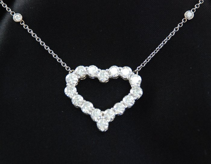 Large Diamond Heart Pendant with Beautiful Bezel Set Diamond Necklace Chain
