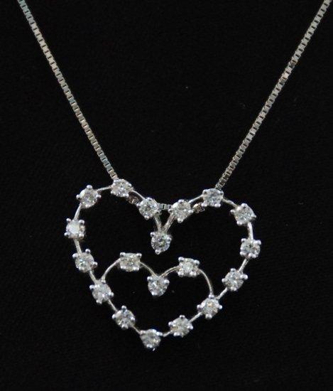 Romantic Diamond Heart Within Heart Pendant 18K