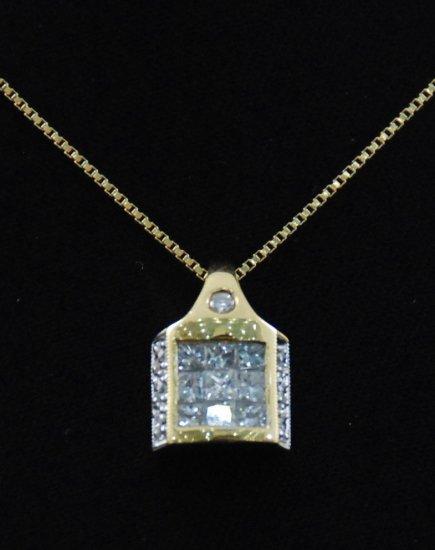 Square House of Diamonds Pendant 18K Necklace