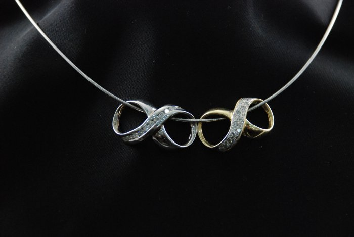 Double Diamond Infinity Pendant Dual Colored in 14K White and Yellow Gold