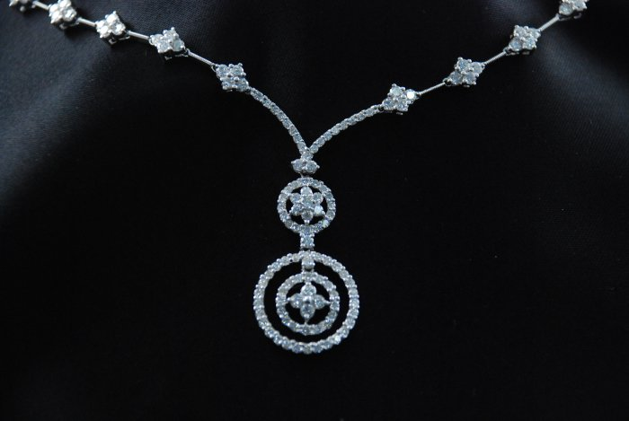 Couture Circle of Diamond Flowers and Imbedded Circles All Around 18K Necklace