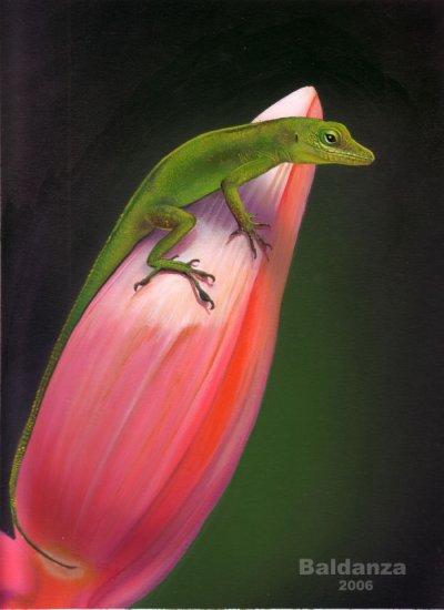 """Green lizard"" - original acrylic painting"