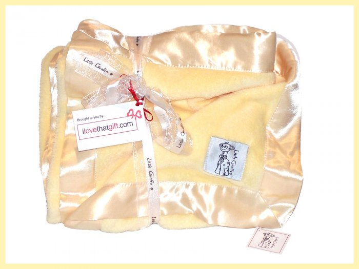"""BUTTER YELLOW NWT Little Giraffe Chenille Adult Throw XL Blanket SOFT 88"""" x 59"""""""