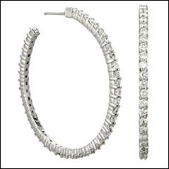 NWT New Crislu 2.8 ct Cubic Zirconia Hoop Earrings 7479E