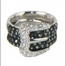 Kenneth Jay Lane KJL Black Pave Buckle Ring