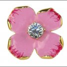 Kenneth Jay Lane KJL Indian Pink Enamel Flower Ring