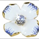 Kenneth Jay Lane KJL White Blue Enamel Flower Ring