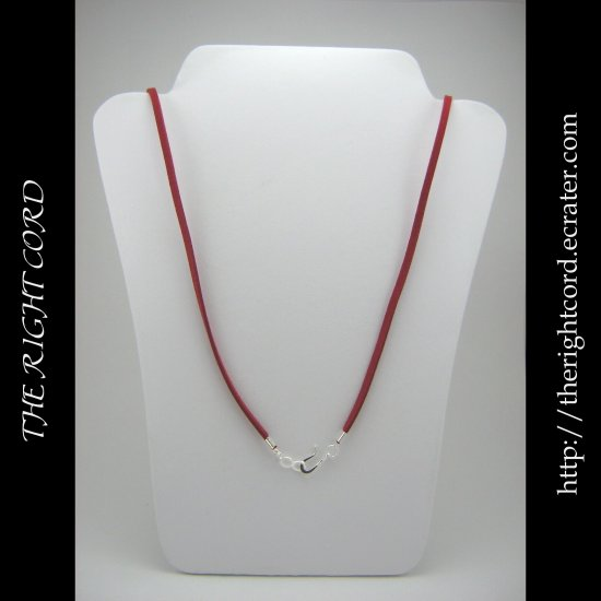"""18"""" Crimson Red Faux Leather Suede Necklace Cord Microfiber with Hook & Eye Clasp"""