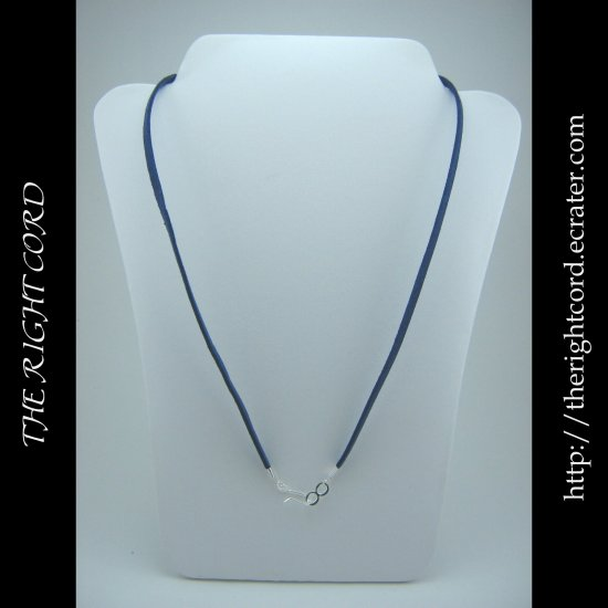 """24"""" Denim Blue Faux Leather Suede Necklace Cord Microfiber with Hook and Eye Clasp"""
