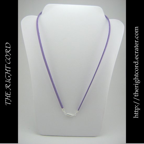 "24"" Lavender Purple Faux Leather Suede Necklace Cord Microfiber with Barrel Clasp"
