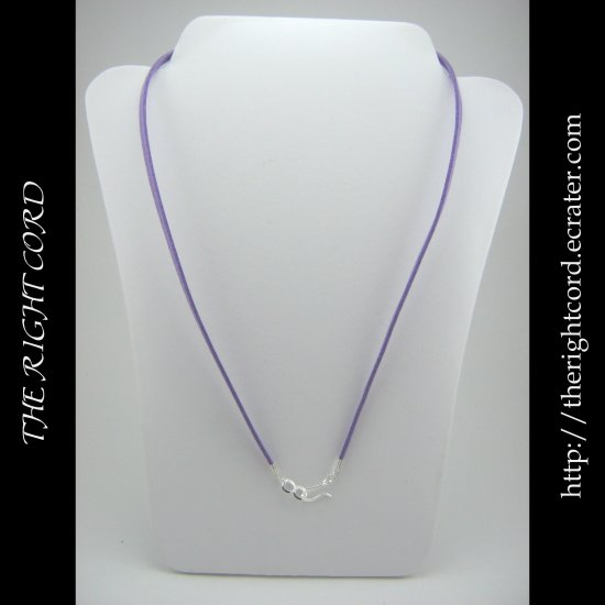 "24"" Lavender Purple Faux Leather Suede Necklace Cord Microfiber with Hook and Eye Clasp"