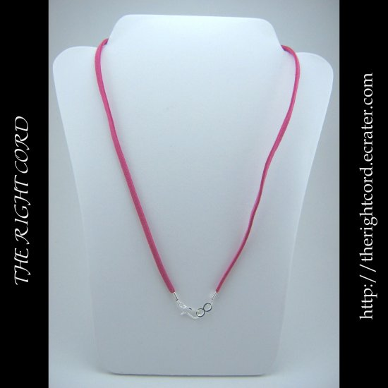 "24"" Hot Pink Faux Leather Suede Necklace Cord Microfiber with Hook and Eye Clasp"