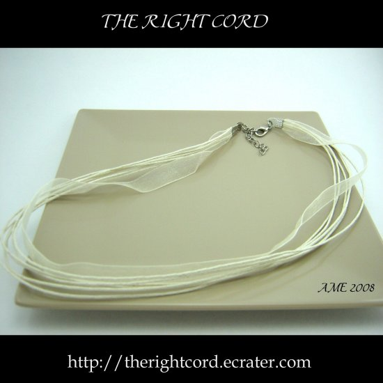 "Multi-strand Ivory Cotton & Silk Necklace Cord 17"" with extension chain"