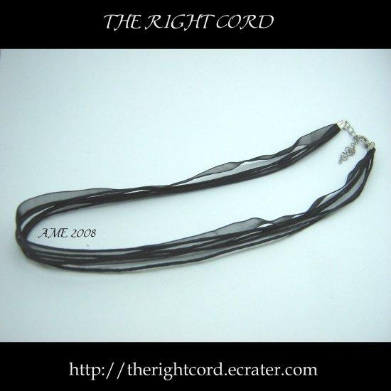 "Multi-strand Black Cotton & Silk Necklace Cord 18"" with extension chain"