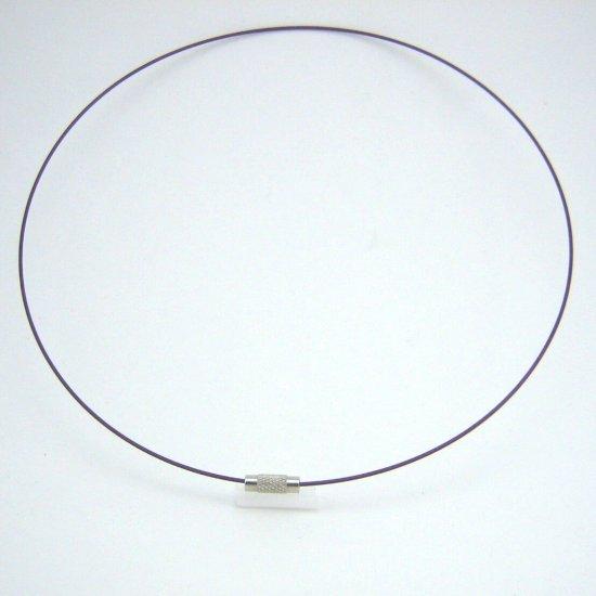 "18"" Dark Purple 1mm Rubber Necklace Cord with Barrel Screw Clasp"