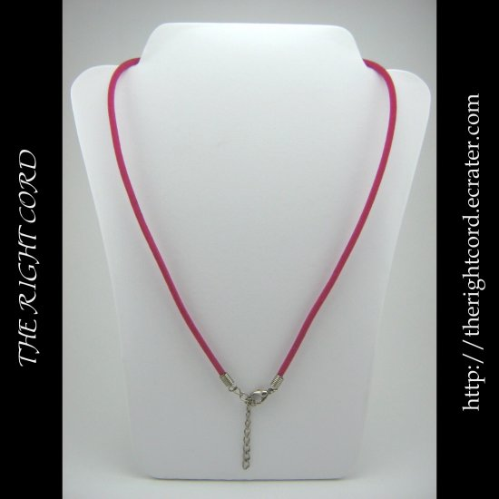 "19"" Hot Pink Velvet Necklace Cord 3mm with Extension Chain"