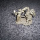 """Fantasy Figurine Dragon Kissing Maiden Called """"Maiden Kiss"""" By Gallo Fine Pewter"""