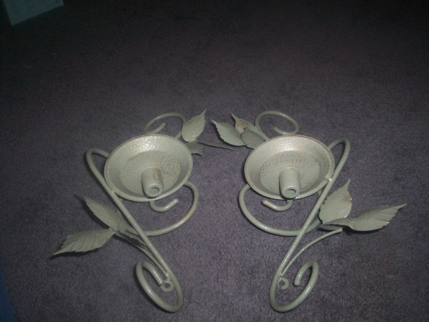 Pair of Green Metal Leaf  Sconce CANDLE HOLDERS