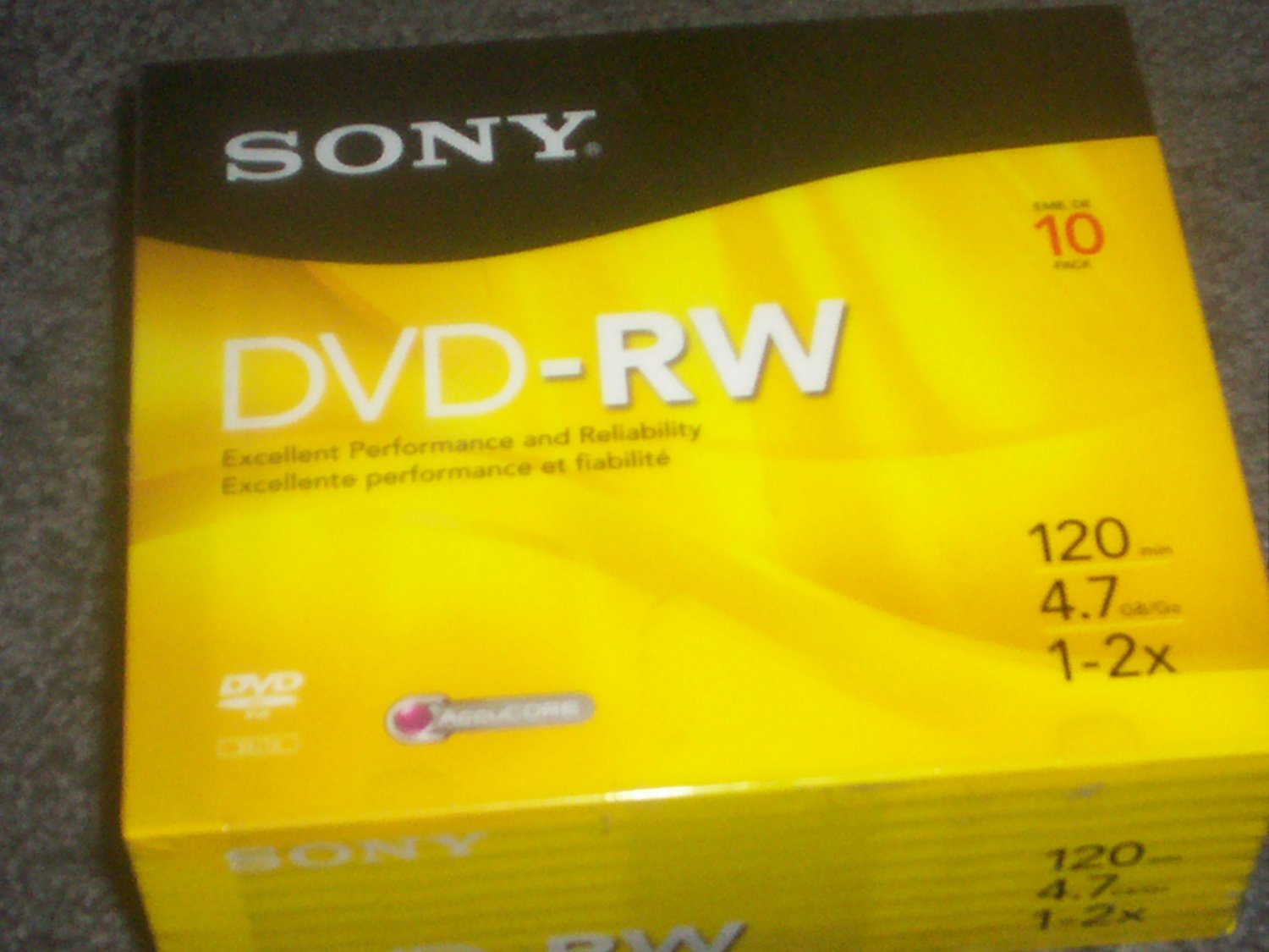 SONY 1-2X 4.7GB 120Min DVD-RW Blank Media Disc