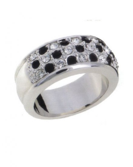 Lady Swarovski Crystals Clear with Black Ring Jewelry Jewellery NEW - 3 Rows RING DIVA