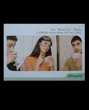 ALITALIA AIRLINE CARD PLAYERS ADVERTISING POSTCARD FROM ITALY