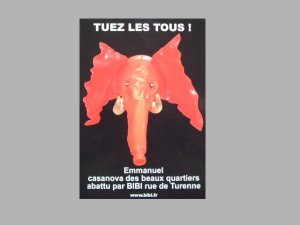 TUEZ LES TOUS! FRENCH ARTS ELEPHANT ADVERTISING POSTCARD