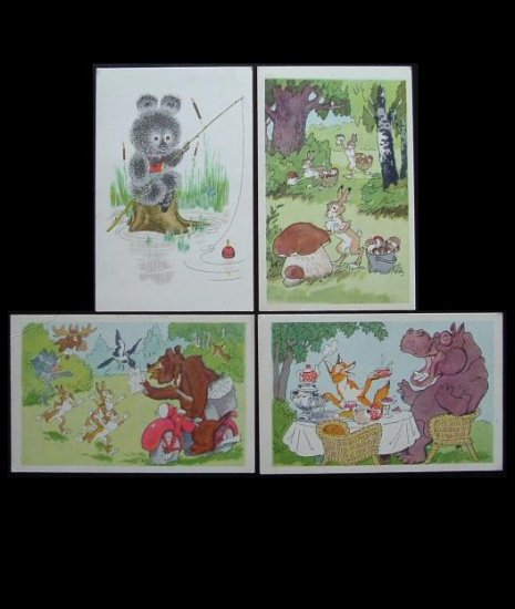 VINTAGE 1969 RUSSIAN CHILDRENS CARTOON POSTCARDS