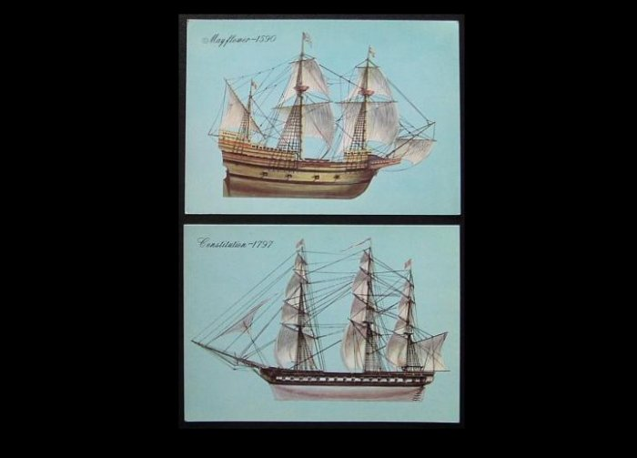 MAYFLOWER AND CONSTITUTION ON VINTAGE SOVIET POSTCARDS