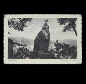 VINTAGE CZECHOSOVAKIA KARLSBAD POSTCARD WITH 1933 POSTAGE STAMP