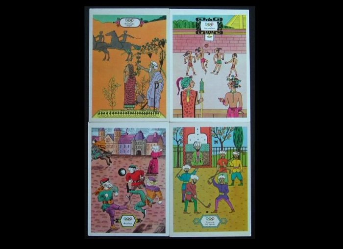 OLYMPIC GAMES ORIGINS OF SPORTS FOOTBALL HOCKEY BASKETBALL EQUESTRIAN POSTCARDS 1976