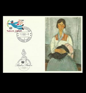UNITED NATIONS GENEVA AMADEO MODIGLIANI PAINTING AND UN STAMPED POSTCARD 1985
