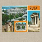 PULA CROATIA 1977 MULTIVIEW POSTCARD WITH YUGOSLAVIAN STAMP